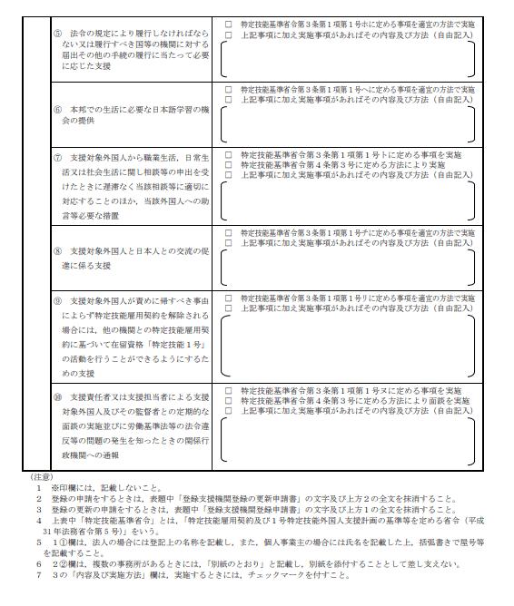 登録支援機関登録申請書3